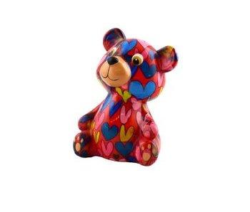 Pomme pidou Tirelire coeurs ours 'Teddy' - 8,5x7xH12 - Petit