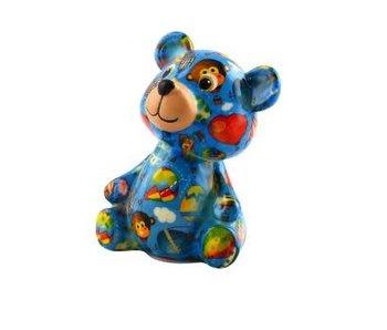 Pomme pidou Tirelire ourson 'Teddy' bleu - 8,5x7xH12 - Petit