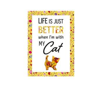 Pomme pidou Assiette de citation - Life Cat / figurine métal + céramique 14.8xH21