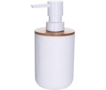 zeepdispenser bamboe/wit