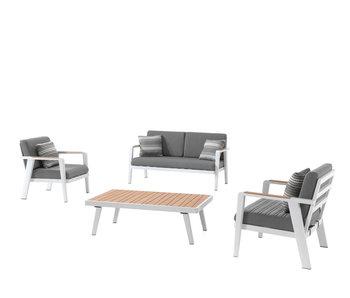Gescova Guadeloupe wit/grijs  lounge set + 4 sierkussens