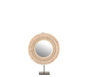 J-Line Spiegel Op Voet Mona Schelpen Licht Rose Large