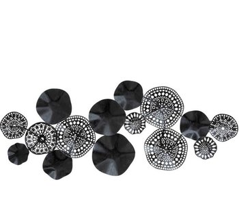 J-Line Wanddecoratie zwart - cirkels  150cm