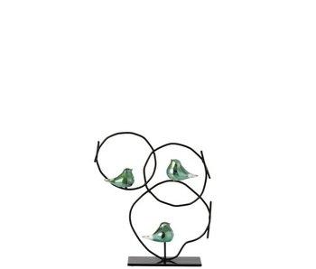 J-Line Anneaux Avec 3 Oiseaux Sur Pied Verre / Métal Vert