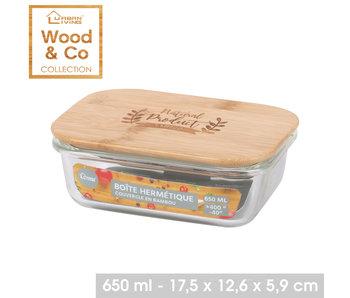 boîte de rangement en verre 650 ml avec couvercle en bambou