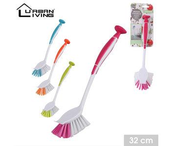 Brosse à vaisselle avec ventouse Ass 4 couleurs