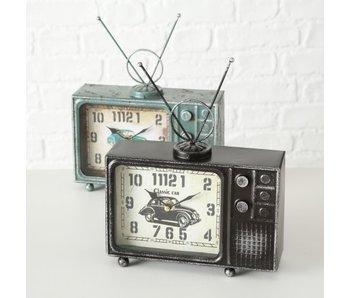 TV klok - blauw ijzer 29x22x7