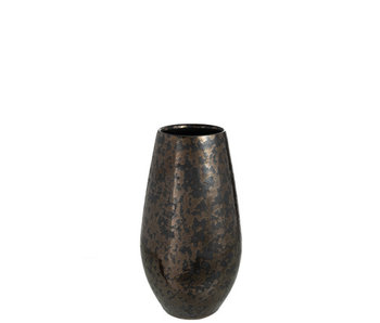 J-Line Vaas Antique Smokey Keramiek Zwart Small