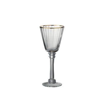 J-Line Drinkglas Witte Wijn Rand Glas Transparant/Goud