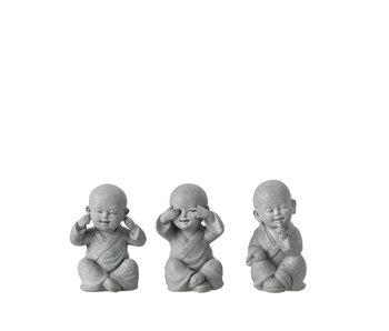 J-Line Monk Entendre / Voir / Silence Poly Gris petit assortiment de 3