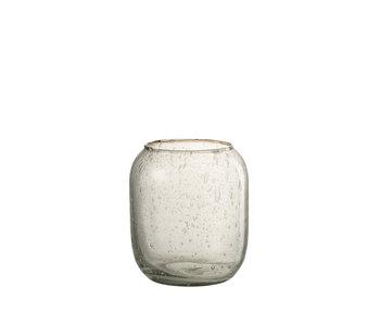 J-Line Vaas Bubbels Glas Transparant