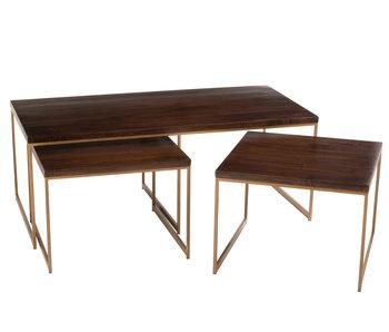 J-Line Table basse Rafi 3 parties Fer / Bois de manguier Or / Marron foncé