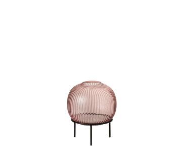J-Line Vaas Op Voet Rond Glas Roze Small
