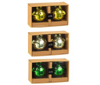 J-Line Doos 2 Kikker Glas Mix Groen Medium Assortiment Van 3