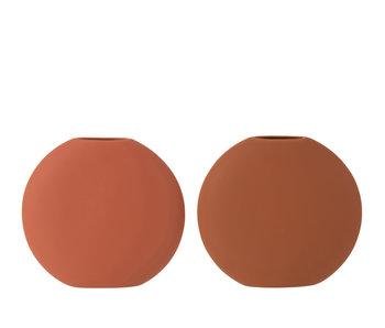 J-Line Vase Rond Fin En Céramique Terracotta / Brun Assortiment De 2