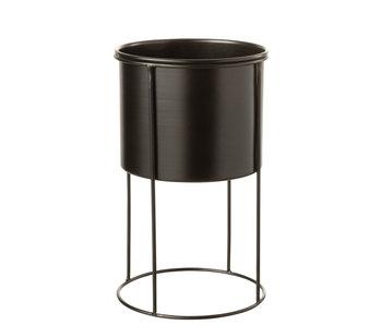 Pot De Fleurs Sur Pied Métal Noir Large