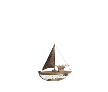 Boot Deco Paulownia Hout Donker Bruin/Wit Small
