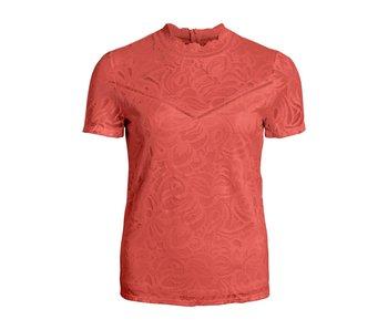 VILA Vistasia S/S lace top - dusty cedar - XS