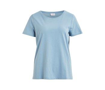 VILA Visus S/S O-neck T-shirt - ashley blue - large