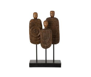 J-Line Figuren 3delig Op Voet Poly Bruin/Zwart