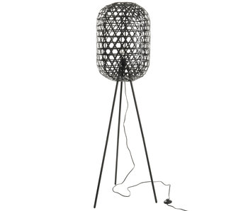 J-Line Lamp Staand Tripod Rond Bamboe/Metaal Zwart