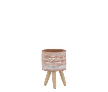 J-Line Bloempot Etnisch Terracotta Small