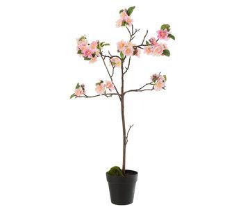 J-Line Arbre fleuri Plastique Rose / Marron Moyen