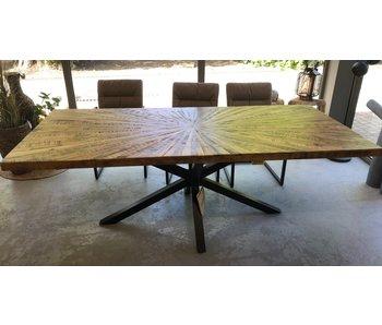 Table à manger en bois 220x100cm - piètement métal noir manguier