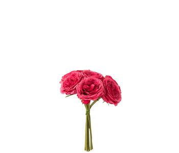J-Line Bouquet de Roses 7 pièces Plastique Fuchsia