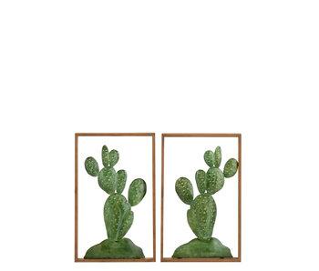 J-Line Wanddeco Cactus Metaal/Hout Groen Assortiment Van 2