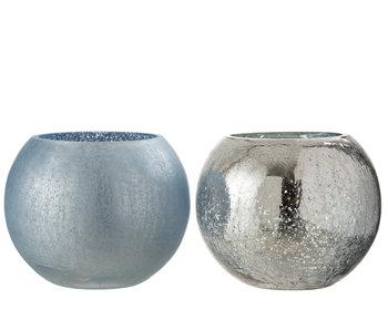 J-Line Windlicht Bol Craquele Glas Mat/Blinkend Licht Blauw Large Assortiment Van 2