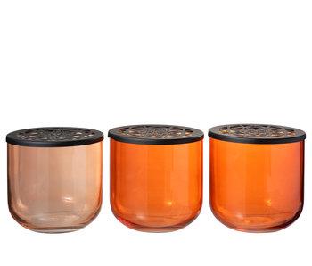 J-Line Pot à fleurs rond en verre / métal mélangé orange assortiment de 3