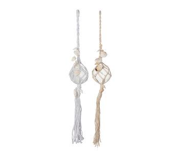 J-Line Bal Deco Hanger+Kwast Glas Wit/Beige Assortiment Van 2