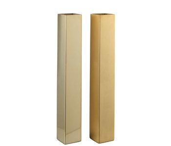 J-Line Vase Rectangulaire Acier Inoxydable Mat / Assortiment Or Brillant De 2 Grandes