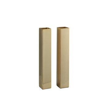 J-Line Vase Rectangulaire Acier Inoxydable Mat / Assortiment Or Brillant De 2 Petits