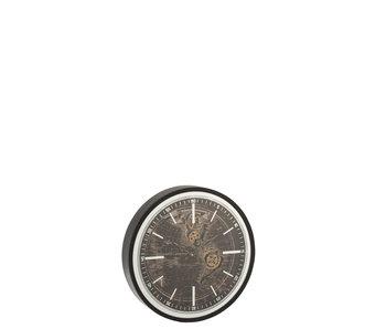 J-Line Horloge Mappemonde Mdf Or Antique/Noir Petit