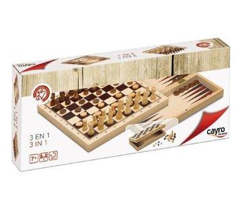 set 3 jeux en 1 - échecs- dames- backgammon
