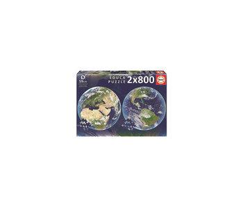 Educa Puzzel Educa Cirkel planeet aarde - 2x 800 stukjes