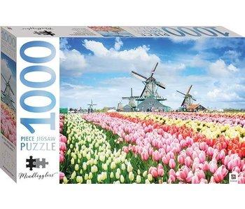 Puzzel 1000 stukken Hollandse Molens En Tulpen.