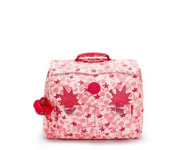 Kipling Iniko Pink Leaves - 40x31x23 cm - boekentas