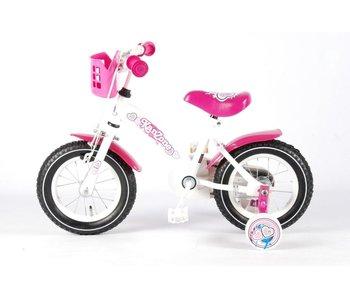 Kanzone Giggles - Kinderfiets - 12 Inch - Meisjes - Wit/Roze