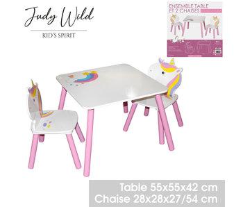 Kindertafel met 2 stoelen - eenhoorn