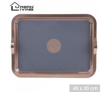 Opdienschotel - metaal kopereffect - 30x40 cm