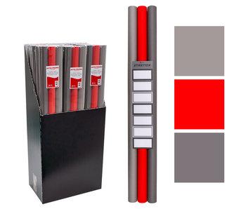 3 rollen kaftpapier + labels Grijs-Rood 2mx70cm