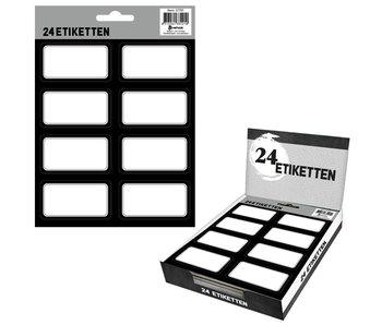 24 étiquettes scolaires A5 - Noir