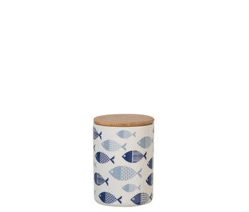 Voorraadpot Vissen Porselein/Bamboo Wit/Blauw