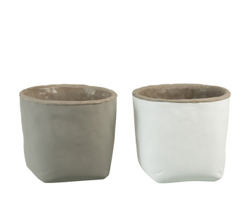 J-Line Sac Pot De Fleurs Gris Ciment Grand Assortiment De 2