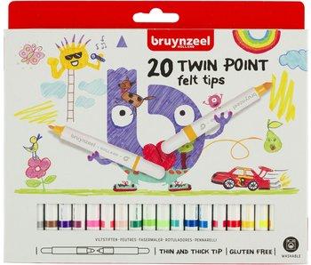 Viltstiften Bruynzeel: 20 stuks twin point