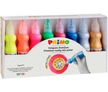 PRIMO plakkaatverf, 8x50ml, 4 fluo, 4 metallic