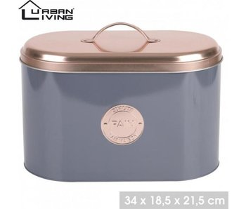 Urban Living Corbeille à pain moderne - métal - Gris avec couvercle couleur cuivre - Récipient de cuisine - Rangement